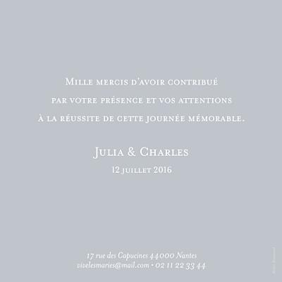 Carte de remerciement mariage Chic (photo) gris finition