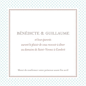 Carton d'invitation mariage Motif chic turquoise
