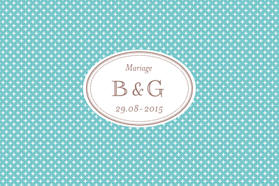 Carton d'invitation mariage Motif chic turquoise finition