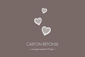Carton réponse mariage Petits coeurs cappuccino
