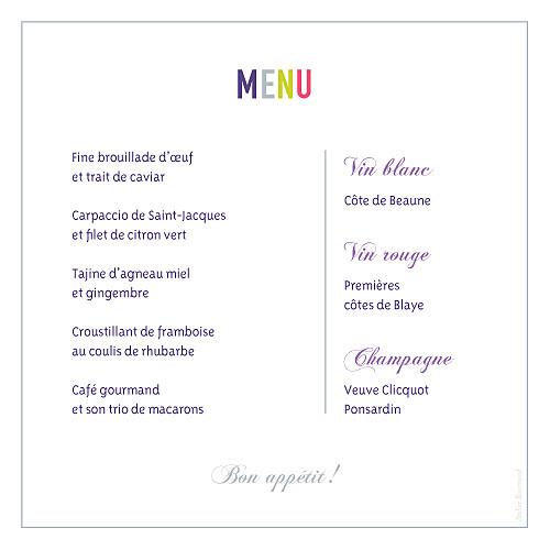 Menu de mariage Marrons-nous violet - Page 2