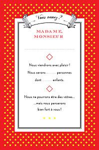 Carton réponse mariage rouge festival rouge