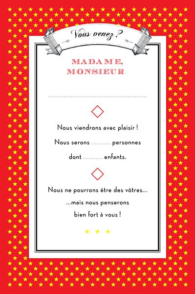 Carton réponse mariage Festival rouge finition