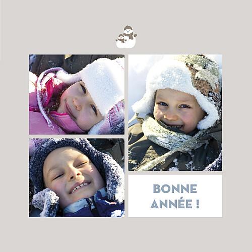 Carte de voeux Bonhomme de neige 4 pages beige