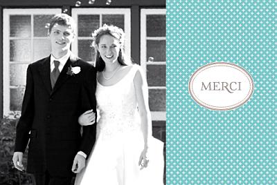Carte de remerciement mariage Motif chic turquoise finition