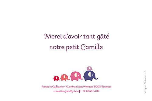Carte de remerciement Patrouille 5 éléphants rose