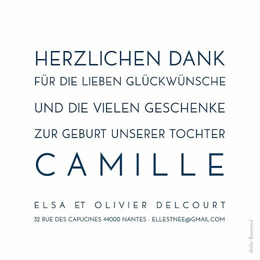 Carte de remerciement Mini bilingue justifié bleu nuit - Page 2