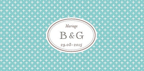 Marque-place mariage Motif chic turquoise