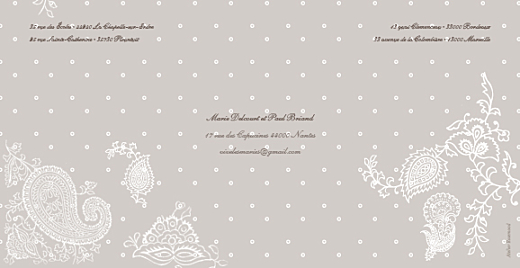 Faire-part de mariage Plumetis taupe gris