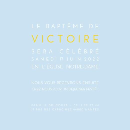 Faire-part de baptême Justifié photo bleu