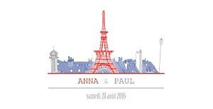 Faire-part de mariage paris paris bleu-rouge-gris