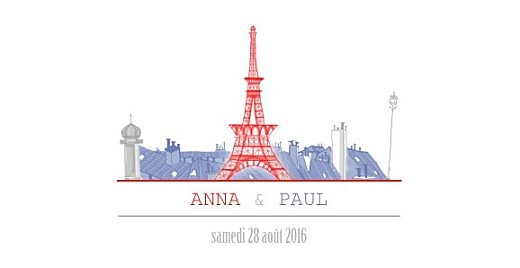 Faire-part de mariage Paris bleu-rouge-gris