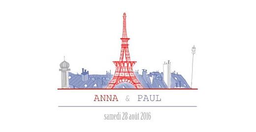 Faire-part de mariage Paris bleu-rouge-gris