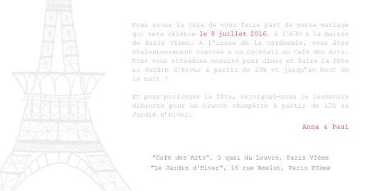 Faire-part de mariage Paris bleu-rouge-gris - Page 3
