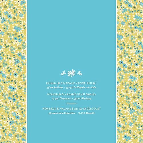 Faire-part de mariage Liberty turquoise