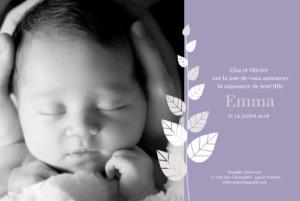 Faire-part de naissance Elegance violet