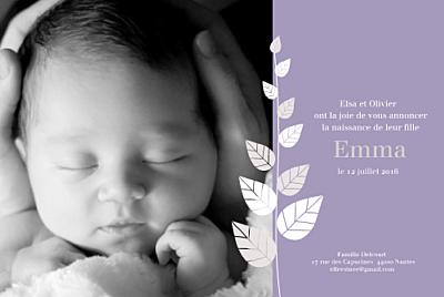 Faire-part de naissance Elegance violet finition