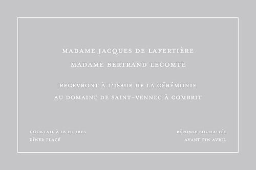 Carton d'invitation mariage Classique liseré gris - Page 2