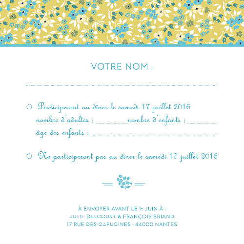 Carton réponse mariage Liberty turquoise - Page 2