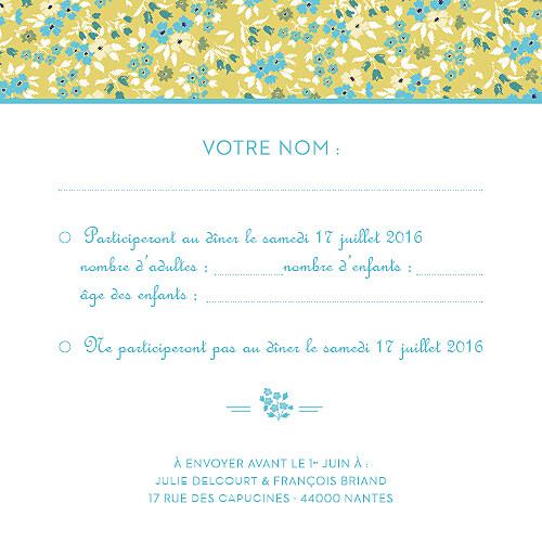 Carton réponse mariage Liberty turquoise - Page 2