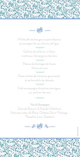 Menu de mariage Liberty bleu