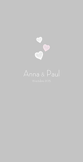 Menu de mariage Coeurs gris clair et rose