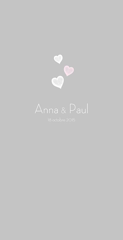 Menu de mariage Coeurs gris clair et rose finition