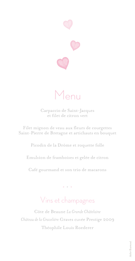 Menu de mariage Coeurs gris clair et rose - Page 2