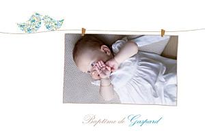 Faire-part de baptême Poétique photo bleu