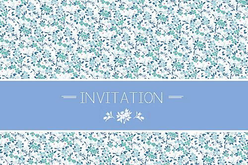 Carton d'invitation mariage Liberty bleu