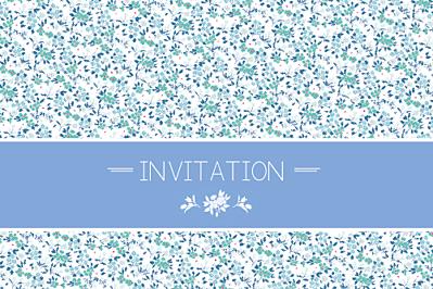 Carton d'invitation mariage Liberty bleu finition