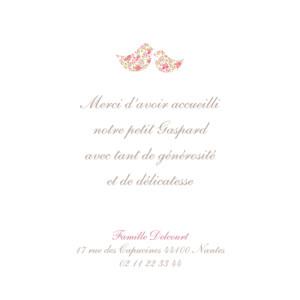Carte de remerciement Merci poétique rose