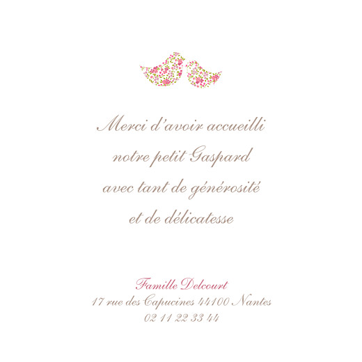 Carte de remerciement Merci poétique rose - Page 1