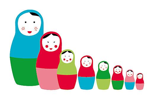 Faire-part de naissance 8 poupées 3 photos rouge