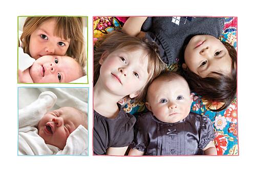 Faire-part de naissance 8 poupées 3 photos rouge - Page 2