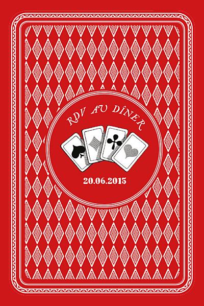 Carton d'invitation mariage Au pays des merveilles rouge finition