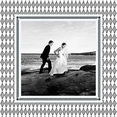 Carte de remerciement mariage Au pays des merveilles blanc finition