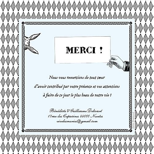 Carte de remerciement mariage Au pays des merveilles blanc - Page 2