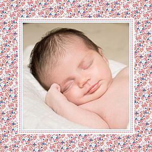 Faire-part de naissance rouge liberty 2 photos rouge