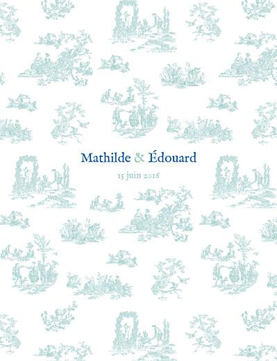 Faire-part de mariage Toile de jouy vert et bleu