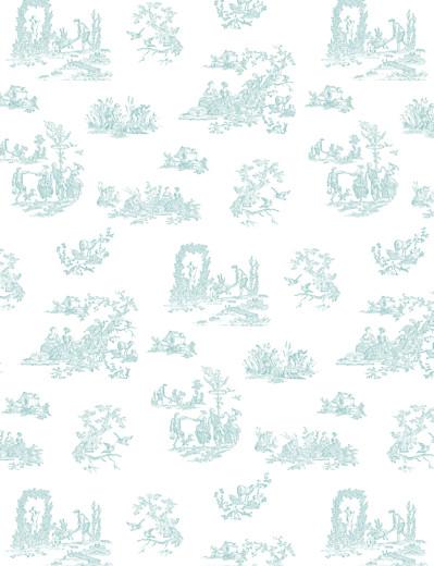 Faire-part de mariage Toile de jouy vert et bleu - Page 2
