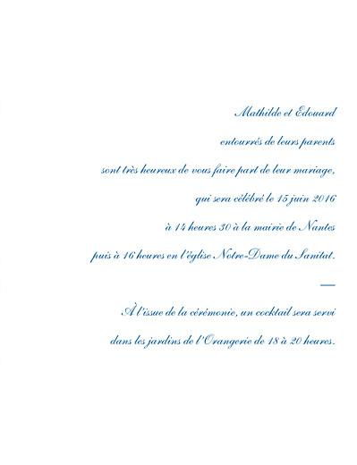 Faire-part de mariage Toile de jouy vert et bleu - Page 3