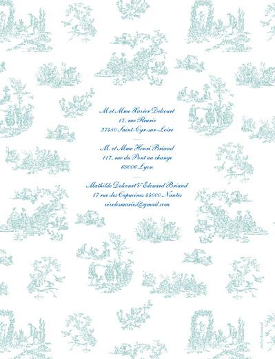 Faire-part de mariage Toile de jouy vert et bleu - Page 4