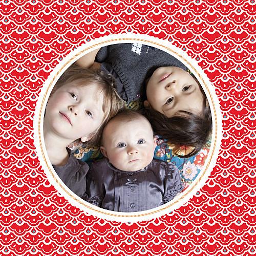 Faire-part de naissance Pattern médaillon rouge-blanc