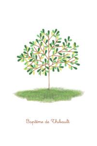 Menu de baptême Arbre (4 pages) vert