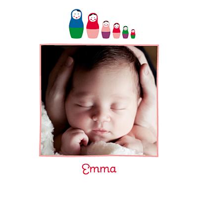 Faire-part de naissance 6 petites poupées photo rouge finition