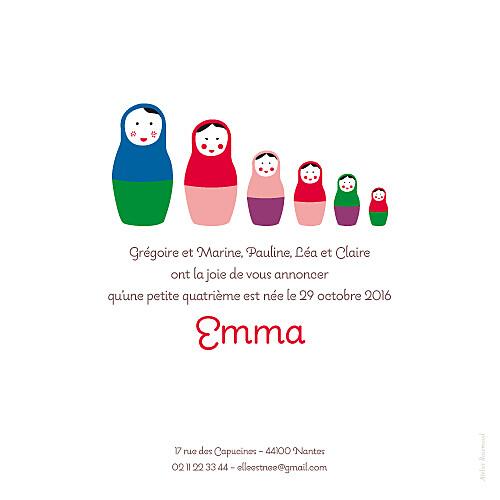 Faire-part de naissance 6 petites poupées photo rouge - Page 2