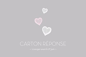 Carton réponse mariage Petits coeurs gris clair et rose