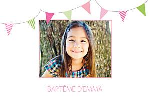 Faire-part de baptême marguerite courtieu fanions paysage photo rose vert