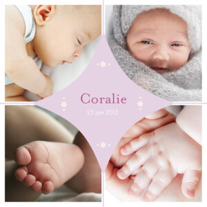 Faire-part de naissance Losange 4 photos parme